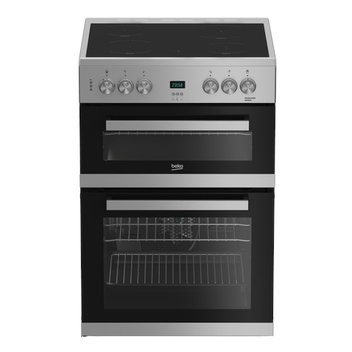 Image of Beko EDC633S 60cm Electric Double Oven with Ceramic Hob Silver