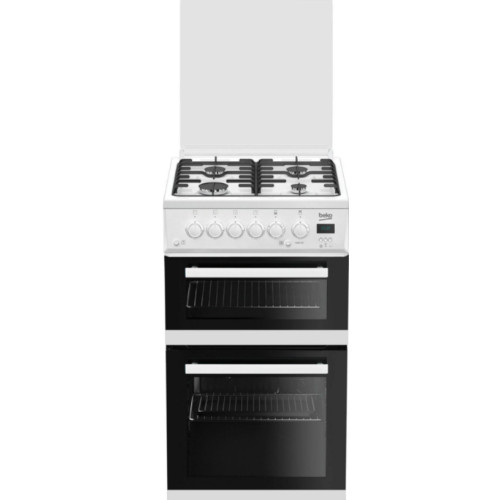 Image of Beko EDG506 50cm Twin Cavity Gas Cooker with Glass Lid White