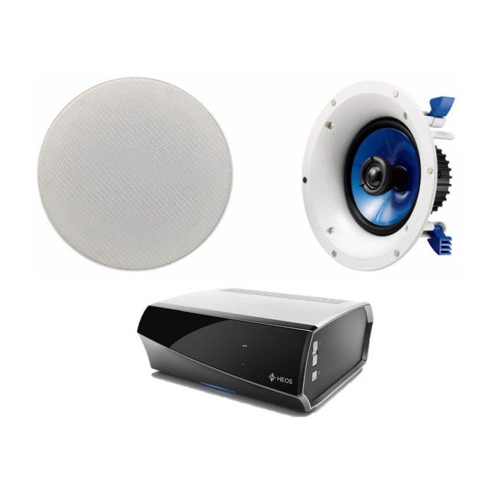 Denon HEOS Amp Wireless Multi Room System with 1 Pair of Yamaha NSIC600 In-Ceiling Speakers