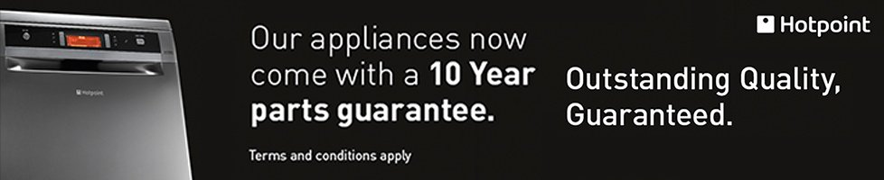 10 Year Parts warranty on all Hotpoint MDA Appliances