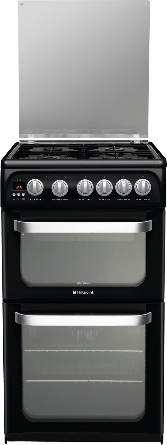 hotpoint hug52k 50cm freestanding gas cooker in black with. Black Bedroom Furniture Sets. Home Design Ideas