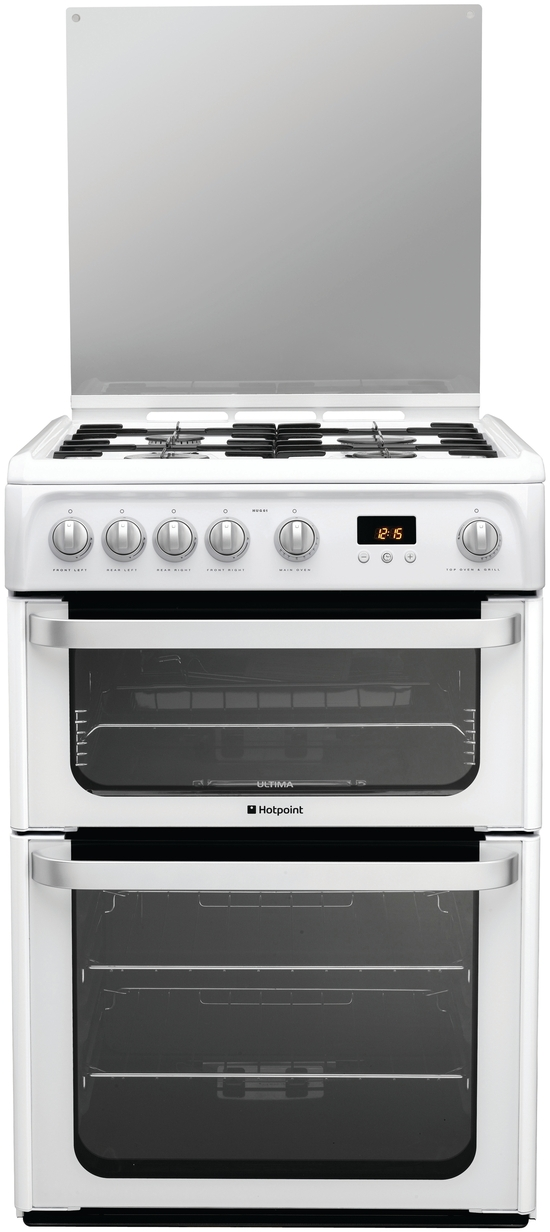 Hotpoint HUG61P 60cm Freestanding Gas Cooker in Polar White with FSD