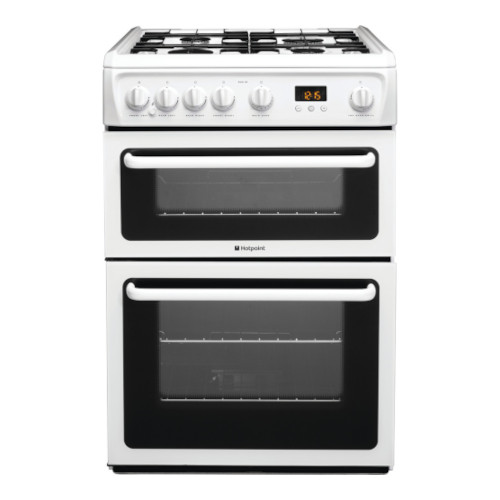 Hotpoint HAG60P 60cm Freestanding Gas Cooker in Polar White with FSD