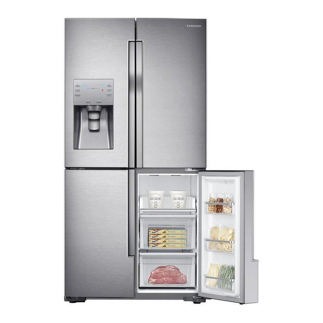 Samsung RF56J9040SR 4-Door American Style Fridge Freezer - Stainless Steel -frontrightopen