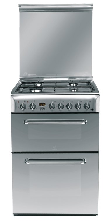 Indesit KDP60SES 60cm Wide Range Dual Fuel Cooker in Stainless Steel