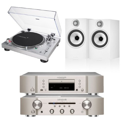 Marantz PM6007 CD6007 Bundle With Bowers and Wilkins 606 S2 Bookshelf Speakers Audio Technica AT-LP120XUSBSV Turntable White