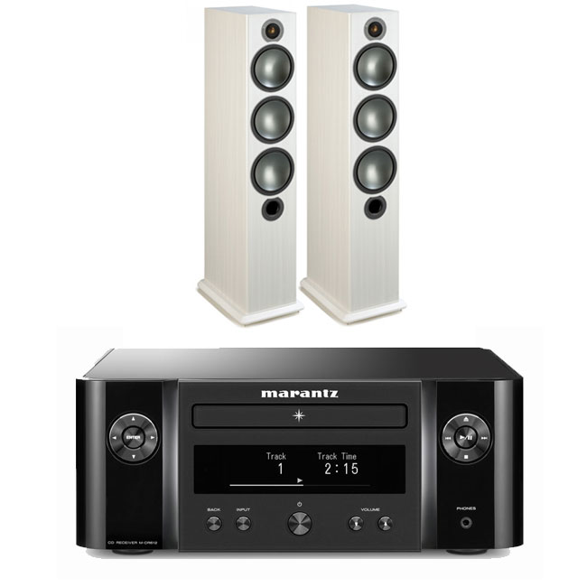 Marantz Melody X MCR612 HiFi Network System Black with Monitor Audio Bronze 6 Speakers White Ash