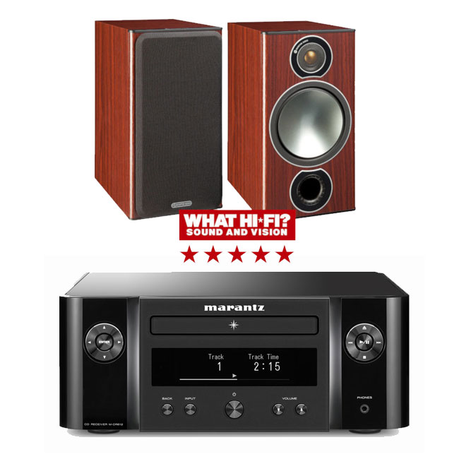 Marantz Melody X MCR612 Hifi Network System in Black with Monitor Audio Bronze 2 Bookshelf Speakers Rosemah