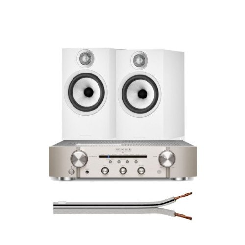 Marantz PM6007 Integrated Amplifier Silver Gold With Bowers & Wilkins 606 S2 Anniversary Edition Standmount Loudspeaker (Pair) White