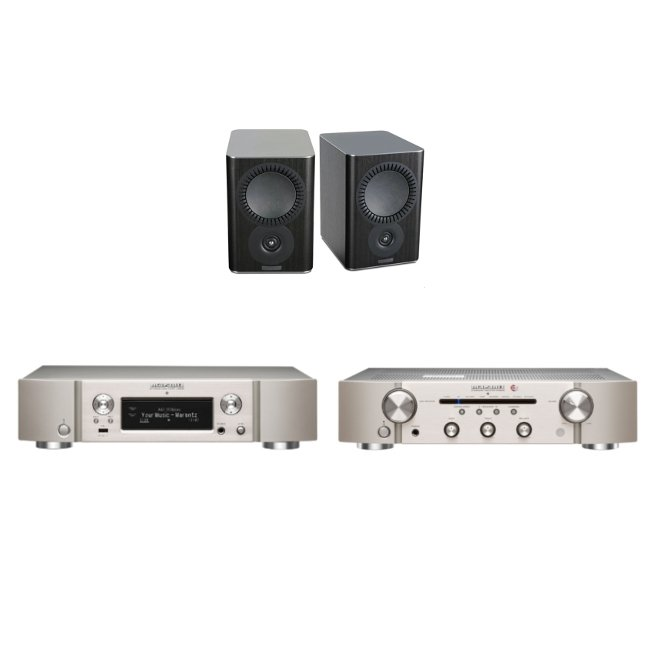 Marantz NA6006 Network Audio Player Streamer with Marantz PM6006 UK Edition Amplifier in Silver and Mission QX-2 Bookshelf Speaker Pair in Black