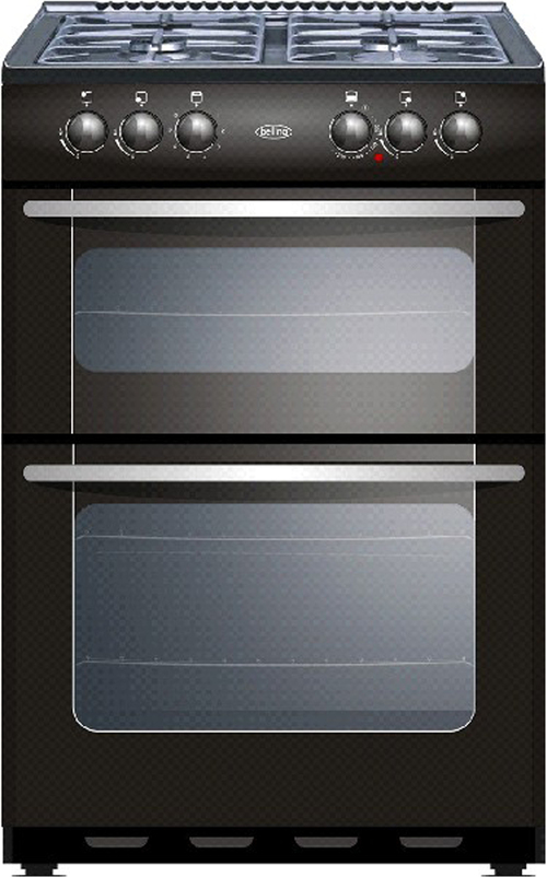 New World NW55TWLG LP 55cm Freestanding LPG Gas Cooker in Black with FSD