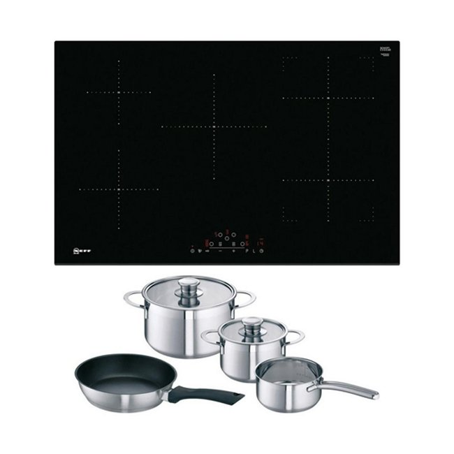 Neff T48FD23X2KIT Frameless 80cm Induction Hob with CombiZone Black with FREE Induction Pan Set