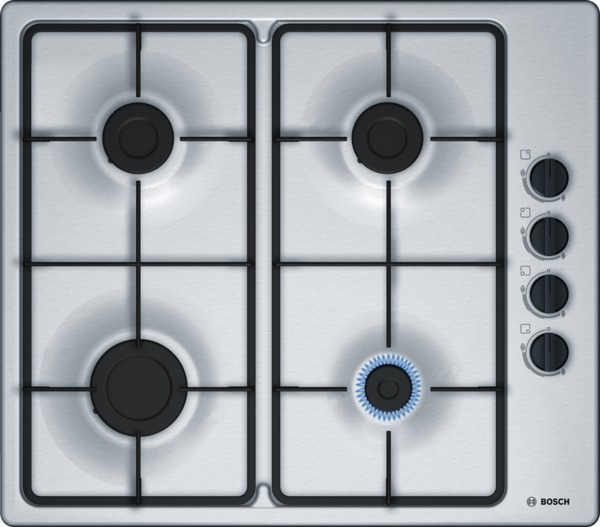 Image of Bosch PBP6B5B60 Serie 2 60cm Gas Hob in Stainless Steel