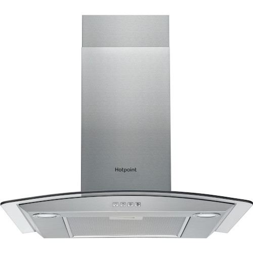 HOTPOINT PHGC6.4 FLMX Chimney Cooker Hood – Silver, Silver