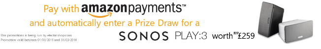 Pay with Amazon Payments and Enter a Prize Draw for a Sonos PLAY:3