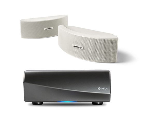 Denon HEOS Amp HS2 Wireless Multiroom Amplifier with Bose 151 Environmental Speakers in White
