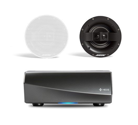 Denon HEOS Amp HS2 Wireless Multiroom Amplifier with Bose Virtually Invisible 591 Ceiling Speakers II