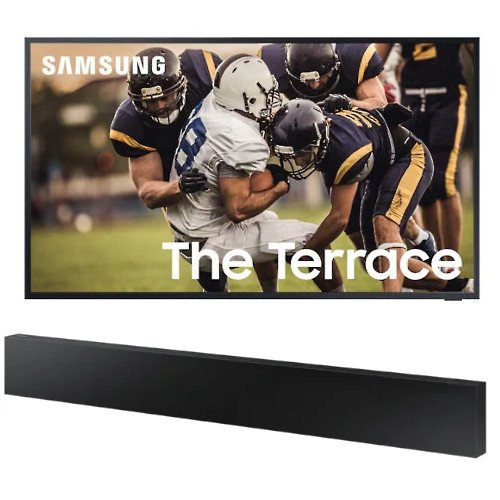 Samsung QE55LST7TAUXXXU The Terrace 55 inch QLED 4K HDR Smart Outdoor TV with HWLST70TXU All-in-One Soundbar Black