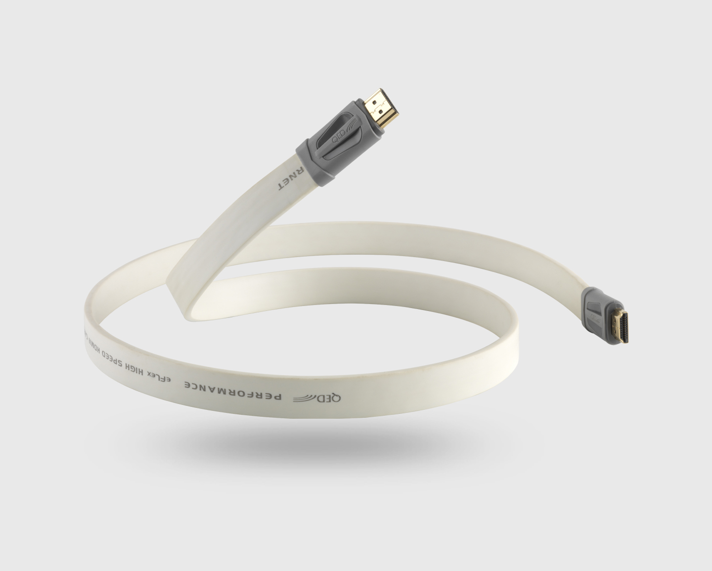 QED QE7400 PERFORMANCE 1 metre eFlex HDMI Cable in White with Ethernet