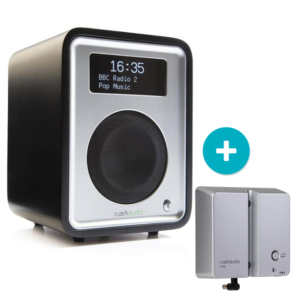 Ruark R1 MK3 Deluxe table top radio with Bluetooth in Black with BackPack 2 Battery Pack