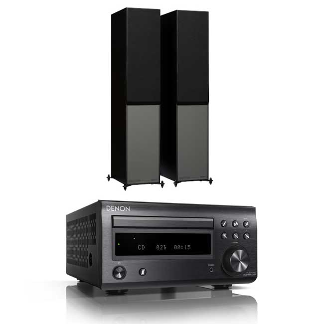 Denon DM41 RCDM41DAB Micro Hi-Fi CD Receiver In Black with Monitor Audio Monitor 200 Floorstanding Speakers in Black (Pair)