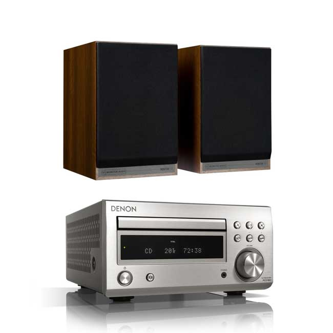 Denon DM41 RCDM41DAB Micro Hi-Fi CD Receiver in Silver with Monitor Audio Monitor 100 Bookshelf Speakers in Walnut