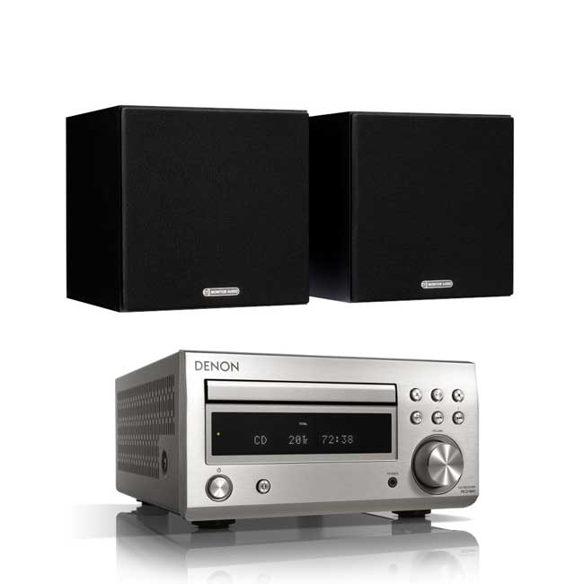 Audio Systems Denon DM41 RCDM41DAB Micro Hi-Fi CD Receiver in Silver with Monitor Audio Monitor 50 Bookshelf Speakers in Black