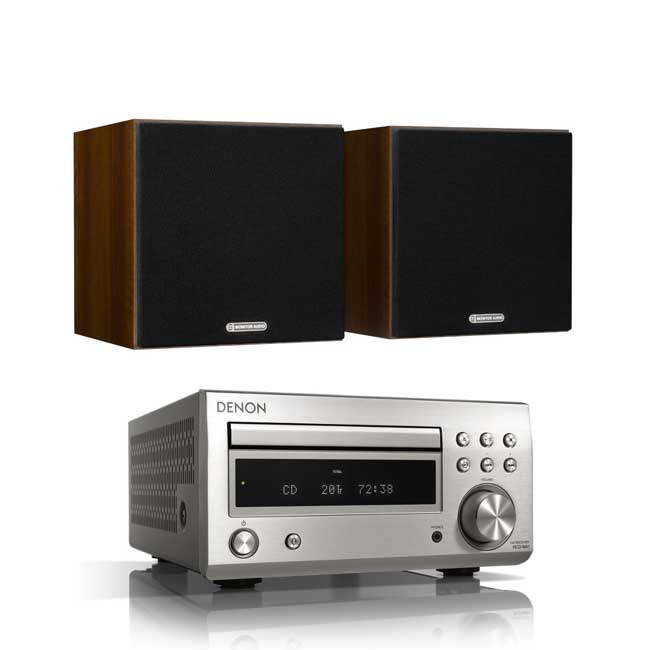 Audio Systems Denon DM41 RCDM41DAB Micro Hi-Fi CD Receiver in Silver with Monitor Audio Monitor 50 Bookshelf Speakers in Walnut