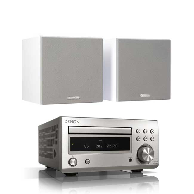 Audio Systems Denon DM41 RCDM41DAB Micro Hi-Fi CD Receiver in Silver with Monitor Audio Monitor 50 Bookshelf Speakers in White