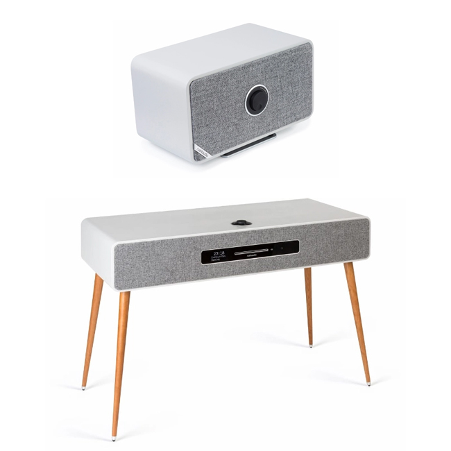 Audio Systems Ruark R7 Mk3 DAB DAB+ FM Internet Radio & CD Bluetooth Wi-Fi Wireless All-In-One Music System Soft Grey and MRx Wireless Speaker Grey