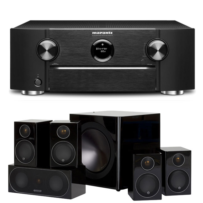 Marantz SR6013 9.2 Channel AV Receiver with Monitor Audio Radius R90HT1 5.1 Speaker Package - Black