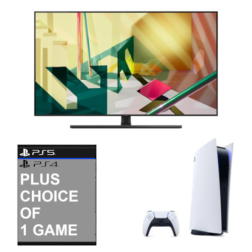 Image of Samsung QE75Q70TATXXU 75 inch 4K QLED Smart TV with Sony Playstation 5 Console with Sony Playstation Game
