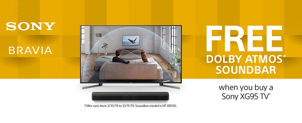 Free Dolby Atmos HTX8500 Soundbar or Save £350 on Selected Soundbars when bought with the Sony XG95 TV