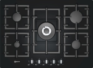 Neff T63S46S1 Extra wide gas hob on tempered glass Black tempered glass
