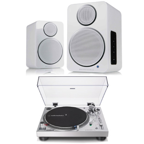 Audio Technica AT-LP120XUSBSV Manual Direct Drive Turntable (Analogue & USB) Silver With Wharfedale DS-2 Wireless speaker Pair in White