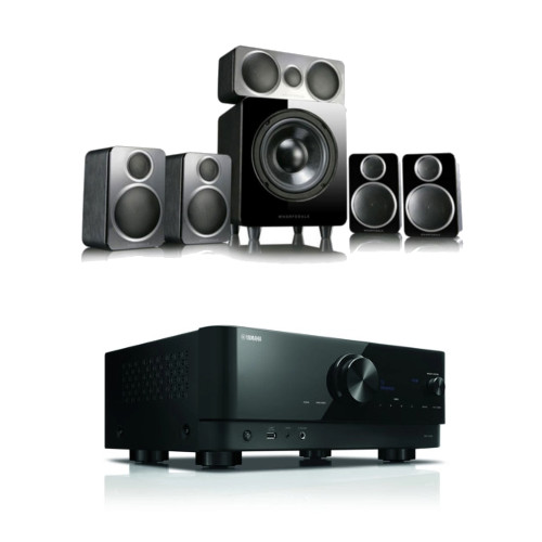 Yamaha RXV4A 5.2ch 8K Home Theatre AV Receiver with Wharfedale DX2 5.1 Speaker Package Black