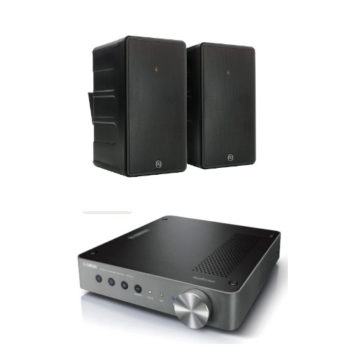 Yamaha WXA50 Streaming Amplifier with Monitor Audio Climate 80 Outdoor Speakers Pair Black