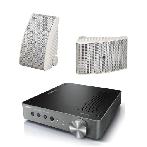 Yamaha WXA50 Streaming Amplifier with Yamaha NSAW392 All Weather Outdoor Speakers White