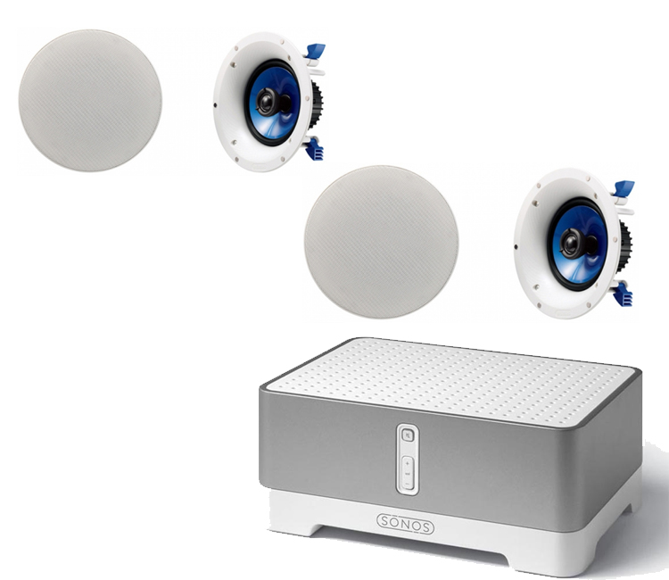 Sonos CONNECTAMP ZP120 Zone Player & Amplifier with 2 pairs of Yamaha NSIC600 InCeiling Speakers in White (Pair)