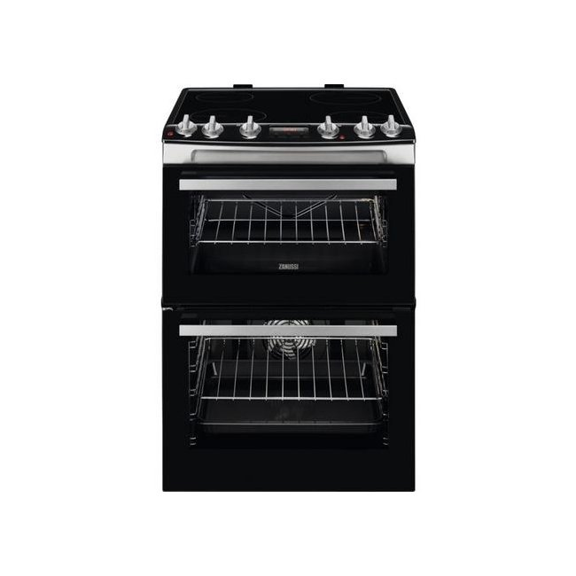 Image of Zanussi ZCV66078WA 60cm Electric Double Oven with Ceramic Hob Stainless Steel White