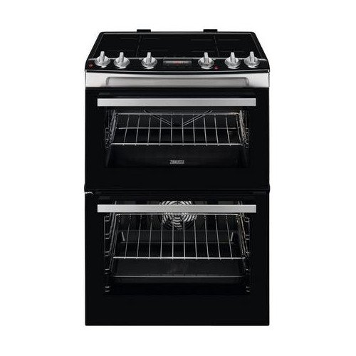"""Image of Zanussi ZCI66288XA 60cm Electric Double Oven with Induction Hob """" Black and Stainless Steel"""