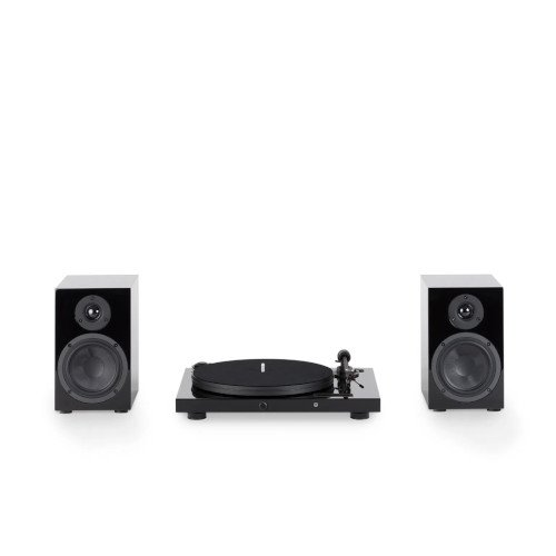 Pro ject Juke Box E Turntable Bluetooth In Black With Project Speakers Box 5 Two-Way Monitor Speakers In Black