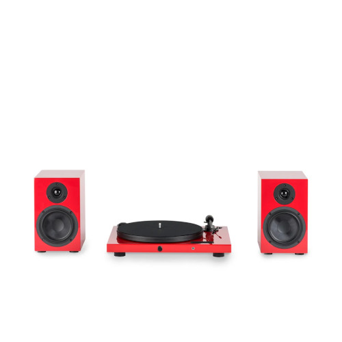 Pro ject Juke Box E Turntable Bluetooth In Red With Project Speakers Box 5 Two-Way Monitor Speakers In Red