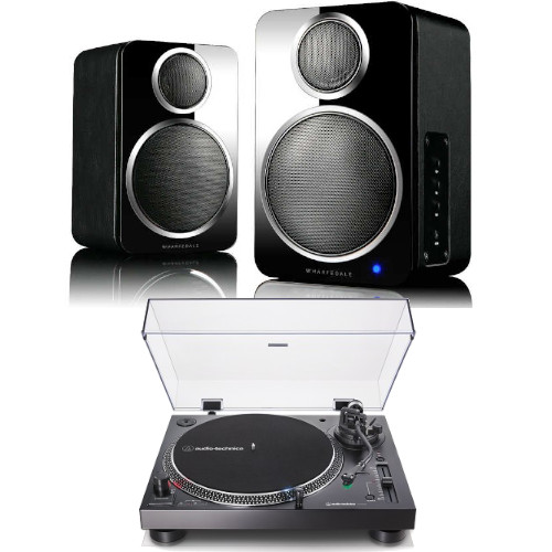 Image of Audio Technica AT-LP120XUSBBK Manual Direct Drive Turntable (Analogue & USB) Black With Wharfedale DS-2 Wireless speaker Pair in Black