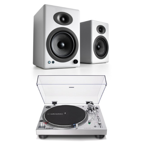 Image of Audio Technica AT-LP120XUSBSV Manual Direct Drive Turntable (Analogue & USB) Silver With Audioengine A5+ Bluetooth Speaker System Gloss White