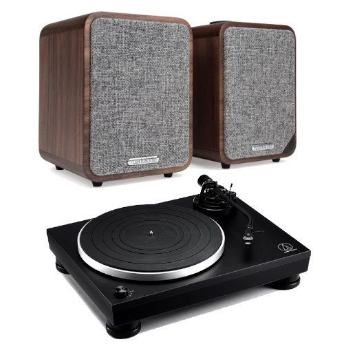 Image of Audio Technica AT-LP5x Fully Manual Direct Drive Turntable Black With Ruark MR1 MK2 Active Bluetooth Speaker in Walnut