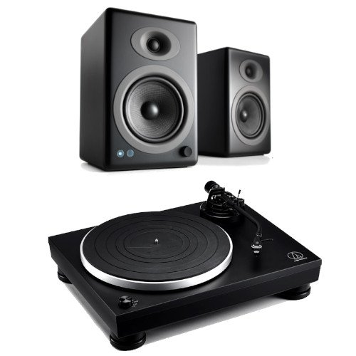 Image of Audio Technica AT-LP5x Fully Manual Direct Drive Turntable Black With Audioengine A5+ Wireless Speaker System Satin Black