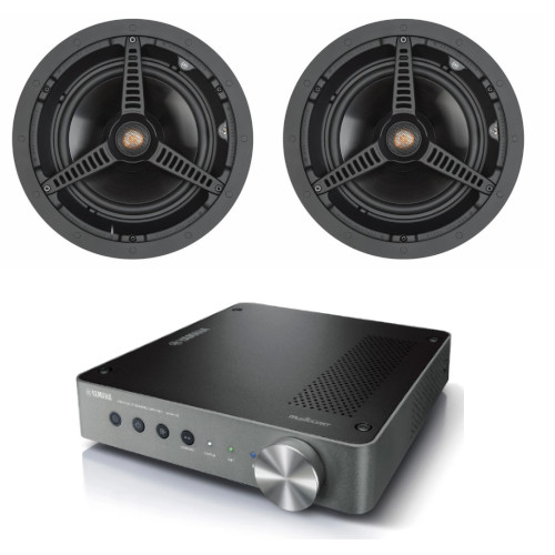 Yamaha WXA-50 Wireless Streaming Amplifier With 1 Pair Of Monitor Audio C180 In-Ceiling Speakers