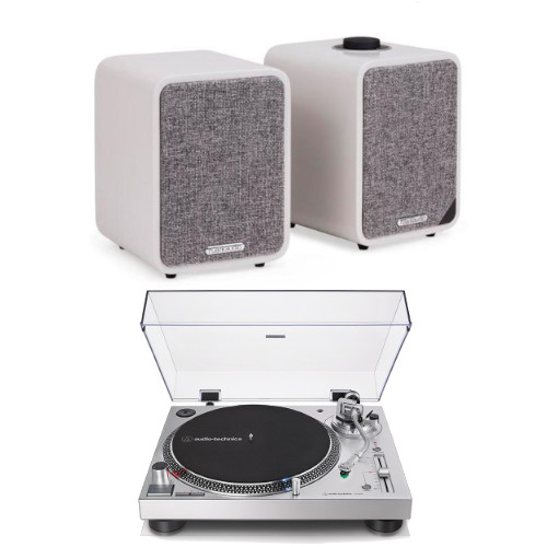 Audio Technica AT-LP120XUSBSV Manual Direct Drive Turntable (Analogue & USB) Silver With Ruark MR1 MK2 Active Bluetooth Speaker in Soft Grey