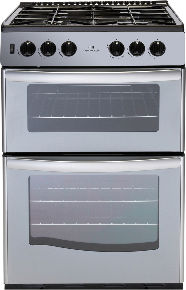 New World NWG55TT 55cm Freestanding Gas Cooker in Silver with FSD